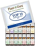 Essential Oil Set 14-10 ml Therapeutic Grade 100% Pure Frankincense, Lavender, Peppermint, Rosemary, Orange, Tea Tree, Eucalyptus, Grapefruit, Lemon, Lime, Clove, Spearmint, Lemongrass, Cinnamon