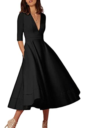 a5848af4e7 YMING Women s Elegant Cocktail Maxi Dress Deep V Neck 3 4 Sleeve Vintage Pleated  Dress