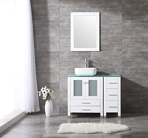 Bathroom Vanity Top Single Ceramic Vessel Sink Cabinet MDF Wood w/Mirror (36'', Sink Square) - 36' Bathroom Vanity Top