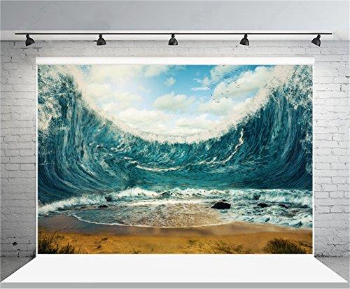 AOFOTO 7x5ft Rough Sea Waves Backdrop Photography Background Billowy Ocean Man Adult Boy Artistic Portrait Natural Scenic Photo Shoot Studio Props Video Drop Vinyl Wallpaper Drape - Rough Waves