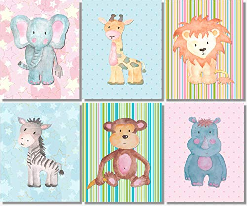 Baby Safari Animals Art Prints - Nursery Wall Decor - (Set of 6) - 8x10 - Unframed