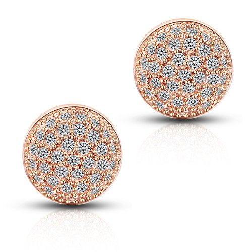 Fleur Rouge - Half Ball CZ Stud Earrings - Fleur Rouge 18K Gold Plated Round Cubic Zirconia Stud Earrings With Silver Post