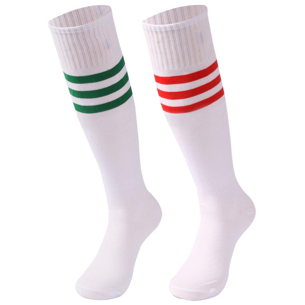 saounisi Women Knee High Socks ,2 Pairs Football Soccer Sports Dress Tube Colorful Long School Uniform Socks Size 9-13 Green/Red Stripe by saounisi