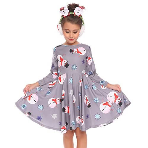 a004bfdce11 Arshiner Kids Girls Long Sleeve A-Line Dress Spring Skater Casual Dress