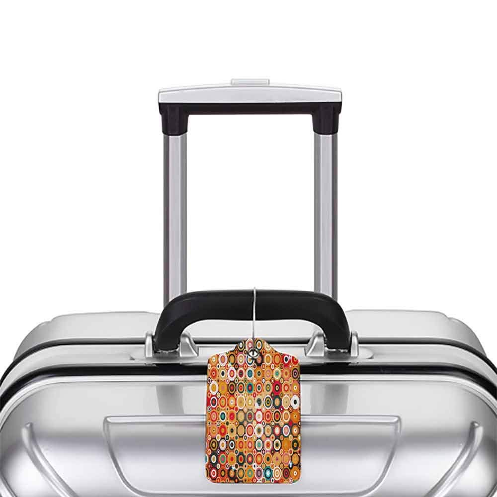 Flexible luggage tag Modern Art Home Decor Disc Rounded Linked Forms with Deep Concentric Vortex Lines Nostalgic Art Fashion match Orange W2.7 x L4.6