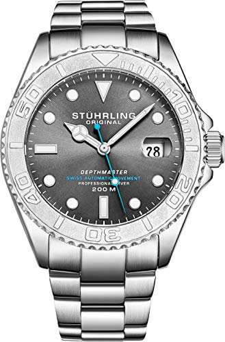 Mens Swiss Automatic Stainless Steel Professional DEPTHMASTER Dive Watch, 200 Meters Water Resistant, Brushed and Polished Bracelet with Divers Safety Clasp and Screw Down Crown (Grey)