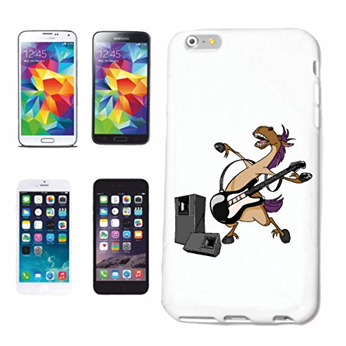 """cas de téléphone iPhone 6S """"CHEVAL AVEC GUITARE E TECHNO JAZZ FUNKY SOUL TRANCE FESTIVAL HOUSE HIPHOP HIP HOP DJ"""" Hard Case Cover Téléphone Covers Smart Cover pour Apple iPhone en blanc"""