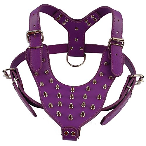 """Didog Purple Leather Dog Training Walking Hiking Running Sports Spiked Studded Vest Harness for Large X-Large Dogs Chest Girth 23.5-34"""" Adjustable Perfect for GSD Husky Pitbull BullDog Labrador"""