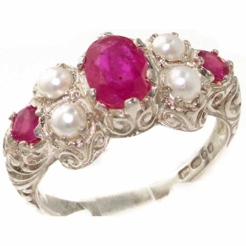Pearl Ruby And - 925 Sterling Silver Natural Ruby and Cultured Pearl Womens Cluster Ring - Sizes 4 to 12 Available