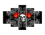 Black and White Painting on Canvas Skeletons Design Red Flames Wall Art Eerie Bones Home Decor Day of The Dead Picture, Framed Artwork for Living Room 5 Piece/set Stretched Ready to Hang(50''Wx24''H)