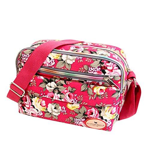 Goddessvan Fashion Women Floral Canvas Crossbody Bag Shoulder Bag Messenger Bag Cosmetic Bag Hot Pink