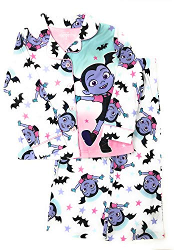 Disney Vampirina Little Girls Coat Pajamas 2-Piece Flannel Button Front (4) ()