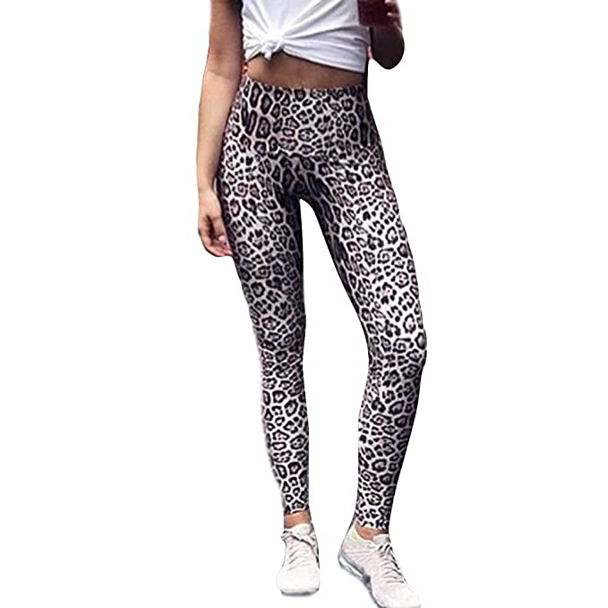 00f7f87e7acb3 PASHY Women's Yoga Pants Casual Sports Pants for Women Leopard Patterned  Tights Leggings Sweatpants Brown