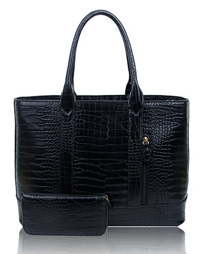 SwankySwans - Audrey Faux Leather Tote Bag Wallet, Borse Tote Donna Nero (Black)