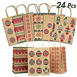Lulu Home Christmas Gift Bags, 24 Pieces Medium Christmas Kraft Paper Bags with Handle, Assorted Christmas Prints for Party Favors: more info