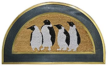 "Imports Decor Penguins Half Round Rubber Back Coir Brush Doormat, 18 x 30 x 1"""