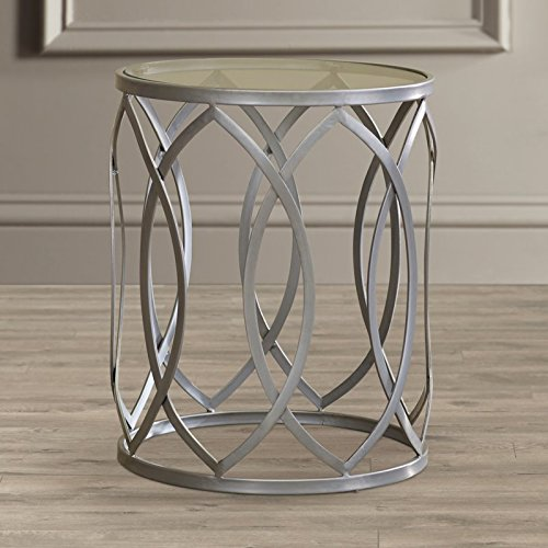 Metal End Table - Silver Metal Geometric Shpe Base With Glass Top - Contemporary Side End Table For Residential (0.25' Tempered Glass)