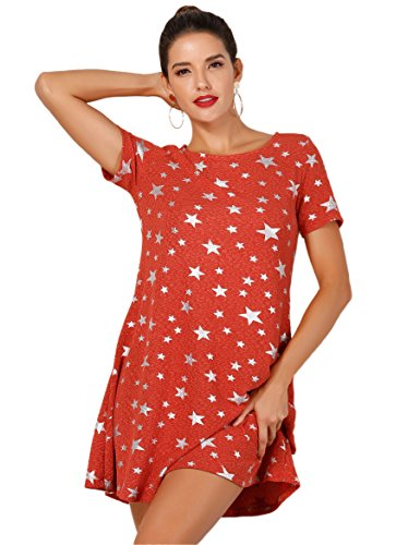 OEUVRE Women's Summer Basic Tee Shirt Stretch Dress Plus Size Metallic Star Print Jersey OrangeSilver -