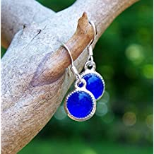Recycled Vintage Cobalt Noxzema Jar Glass Color Dot Earrings