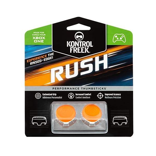 KontrolFreek Rush Performance Thumbsticks for Xbox One | Performance Thumbsticks | 2 Mid-Rise, Concave | Orange/White 1