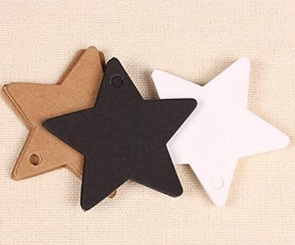 per prezzi bomboniere regali per matrimonio compleanno battesimo comunione festa o occasioni varie Hosaire 100 x targhette cartellini etichetta carta kraft 6 x 6 cm stella bianco