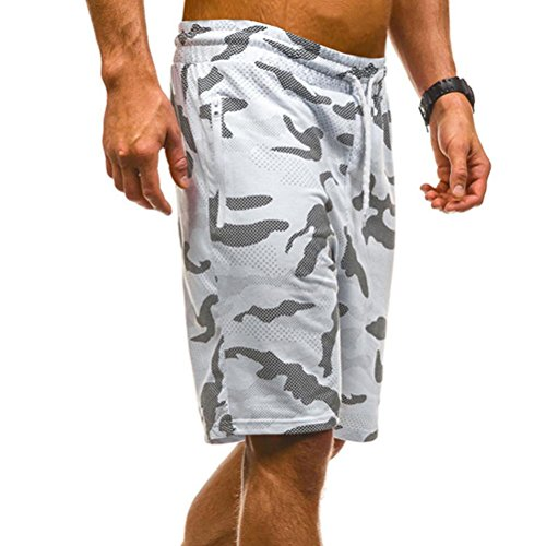 vermers Mens Summer Casual Cargo Shorts 2018 Camouflage Short Pants(M, White) by vermers (Image #3)