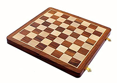 """Early Black Fri, Xmas Deal Sale - 14"""" X 14"""" Foldable Wooden Chess Board Game set Without Pieces - Appropriate Wooden & Brass Chess Pieces Chessmen available separately by StonKraft Brand"""