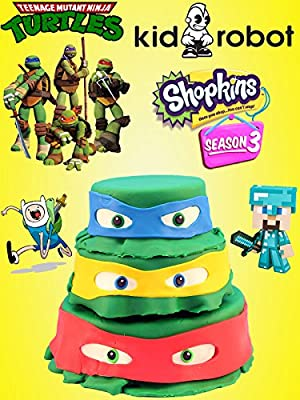 HUGE Teenage Mutant Ninja Turtle Play Doh Cake opening with Surprise Toys, Shopkins, and Mash'ems