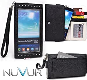 EXPOSE' Series: Black Clutch Wallet Phone Holder May Fit ZTE V887 NuVur ™ |ESXLEXK1|
