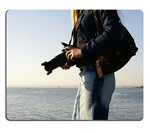 MSD Natural Rubber Gaming Mousepad IMAGE ID: 854996 Young attractive female photographer on a beach (Natural Reflections Jeans compare prices)