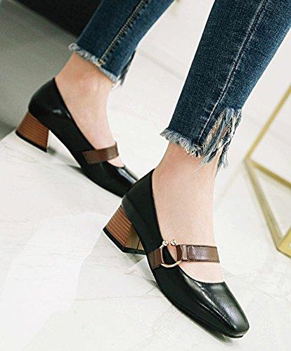 Aisun Mujeres Trendy Comfort Block Tacón Medio De Corte Bajo Elegante Square Toe Slip On Tobillo Correa Bombas Zapatos Negro