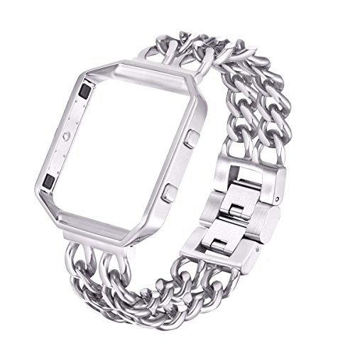 For Fitbit Blaze Bands, bayite Replacement Stainless Steel Chain Bands with Metal Frame for Fitbit Blaze Silver
