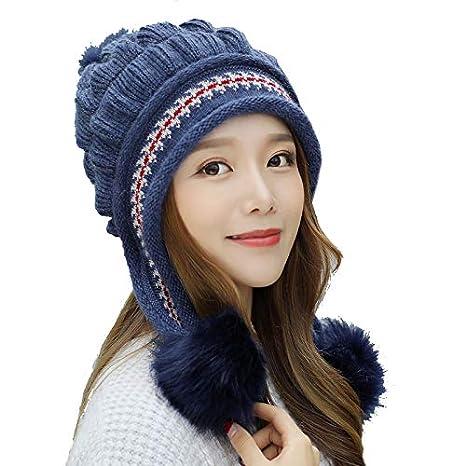 Mujer Sombrero de Orejeras de Punto, Tukistore Invierno Espesar Sombrero de Beanie Gorro de Lana