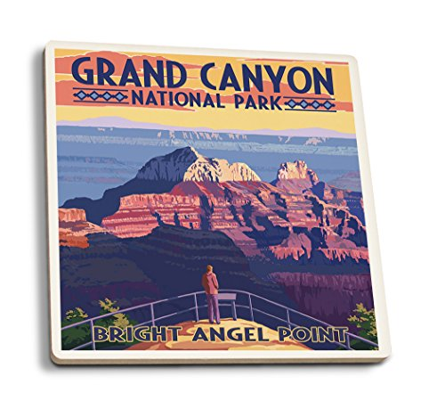 Lantern Press Grand Canyon National Park, Arizona - Bright Angel Point (Set of 4 Ceramic Coasters - Cork-Backed, Absorbent)