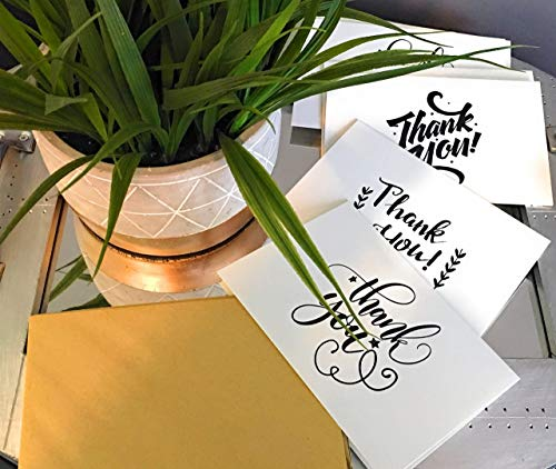 Thank You Cards with Glue Envelopes 36-Count, Kraft Paper Envelopes - Blank on The Inside, Handwritten Style - 4 x 6 Inches - Great for Business, Wedding, Graduation, Baby/Bridal Shower, Professional by SJ Products (Image #7)