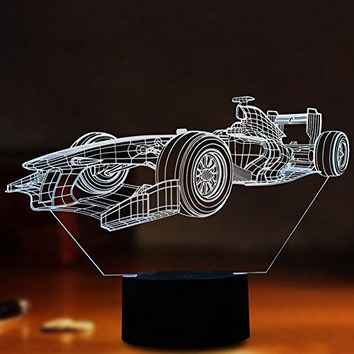 ul F1 Racing Shape Touch Control Light 7 Colors Change USB LED for Desk Table with Multicolored USB Powered Home Decoration Best Gift for Children's Day ()