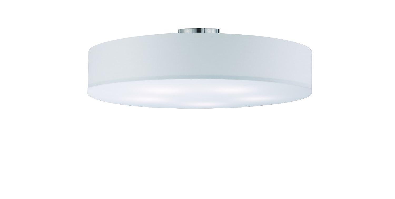 lightling modern Deckenleuchte in nickel matt, Stoffschirm weiß, 5 x E27 max. 60W, ø 65 cm, Höhe: 17 cm