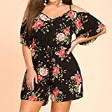 Dreaman Women Plus Size V-Neck Camisole Print Fashion Summer Daily Casual Short Sleeve Jumpsuit (XXL)