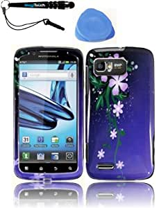 3-in-1 Bundle For Motorola Atrix 2 MB865 Snap-on Hard Case Design Cover Phone Protector - Nightly Flower Shell Cover Faceplate Skin Phone Case + IMAGITOUCH(TM) Touch Screen Stylus Pen + Pry-Triangle Case Removal Tool