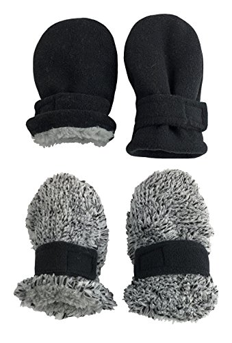 N'Ice Caps Little Kids and Baby Easy-On Sherpa Lined Fleece Mittens - 2 Pair Pack (Black/Fuzzy Grey Pack - Infant No Thumbs, 6-18 (6 Pair Pack Grey Accessories)