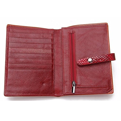 Real rabbit Package Passport Cluth Bag Purse Lovely Red Hasp Black Color Leather Women's pfTxwdHE