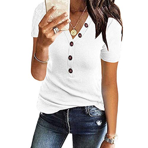 Loosebee Women's Button Up Short Sleeve T-Shirt Casual Blouse Tunic Tops - Ladies Pant Highland Plaid