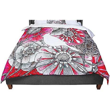 KESS InHouse Anchobee Cardinal Red Black Queen Comforter 88 X 88