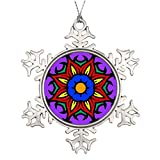 Xixitly Tree Branch Decoration Mandala 26 flame flower color version Meditation Outdoor Snowflake Ornaments