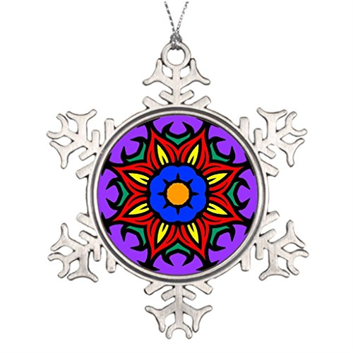 Xixitly Tree Branch Decoration Mandala 26 flame flower color version Meditation Outdoor Snowflake Ornaments by Xixitly