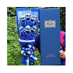 KPS Artificial Lovely Cartoon Plush Toys Stitch Festivals Gift Bouquet with Fake Flowers for Valentine's Day Wedding Party Decoration 100