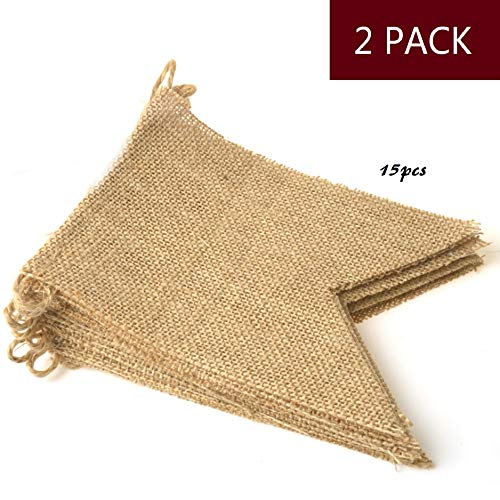 YIYATOO 14.5ft,15pcs DIY Vintage Burlap Banner Hand Painted Decoration for Wedding, Birthday and Kids Party ,2 Pack