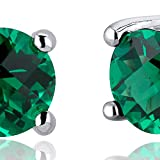 150-Carats-Simulated-Emerald-Round-Cut-Stud-Earrings-Sterling-Silver