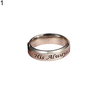 His Always//Her Forever Couple Ring Titanium Steel Wedding Engagement Rings