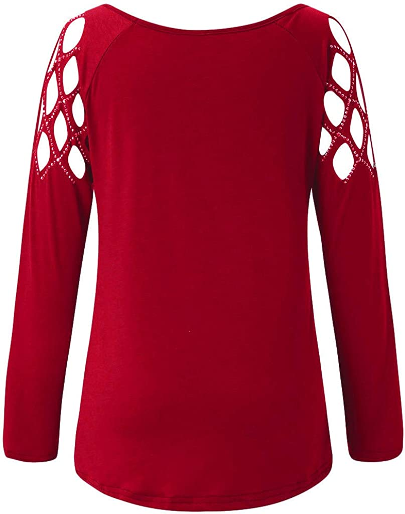 Hengshikeji Womens Criss Cross Collar Long Sleeve Solid Fitted Blouse T-Shirt Tops Pullover